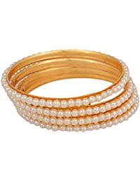 Desi Gurl Traditional Jewellery Gold Polished Studdede With White Pearl Bangle And Bracelet Set For Women