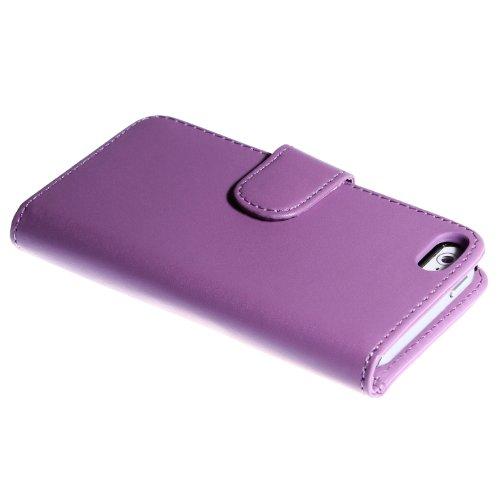 wortek Flip Case im Bookstyle Apple iPhone 5 / iPhone 5S Tasche mit Magnetverschluss und Fach für Karten + Extra Fach Lila Lila