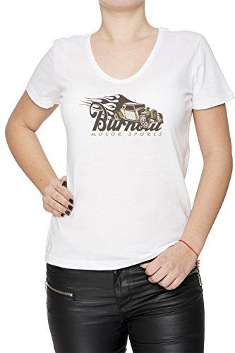 Burnout Motorsports Donna V-Collo T-shirt Bianco Cotone Maniche Corte White Women's V-neck T-shirt