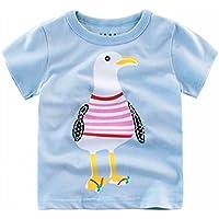 Camiseta de Manga Corta Camiseta Infantil de Cuello Redondo de Algodón para Niños con Estampado de Niños,Mi,140CM