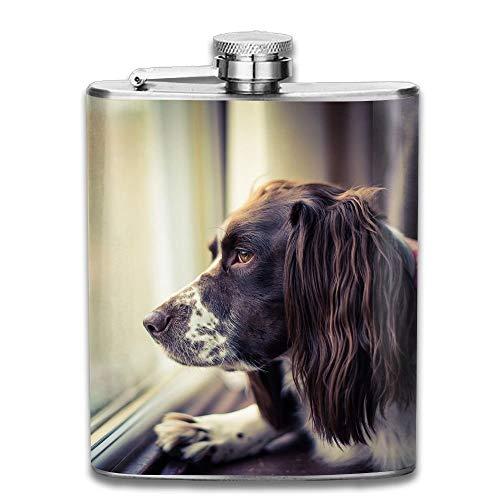Edelstahl Flachmann 8 Unzen (kein Trichter) Hund Look Out Fenster voll gedruckt -