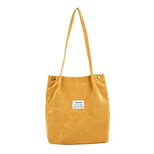 HCFKJ Reine Farbe Umhängetasche Mode Cord Satchel Tote Handtasche Reisetasche (YE)