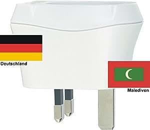 Design Reisestecker Adapter Malediven auf Deutschland, Schukostecker 230V, Umwandlungsstecker MV-D