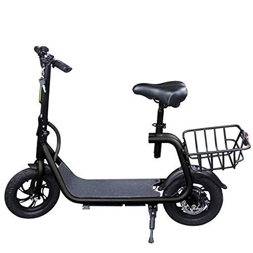 SZPDD ESWING Elektroroller für Erwachsene, Fahrräder mit 36   V-Akku, tragbarer, zusammenklappbarer Motorroller mit Pendelverkehr, Display und LED-Kontrollleuchte,Schwarz,12inch