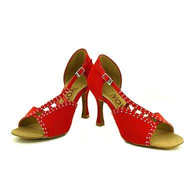 Scarpe da ballo-Personalizzabile-Da donna-Balli latino-americani / Salsa-Tacco su misura-Scamosciato-Nero / Giallo / Rosso Red