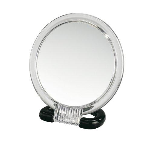 WENKO 3659010100 Kosmetik-Stand- und Handspiegel, Spiegelfläche ø 12.5cm, 300% Vergrößerung, Kunststoff, 15.5 x 17 x 7.5 cm, Transparent