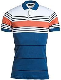 BLZ jeans - Polo piqué homme bleu et blanc rayures orange