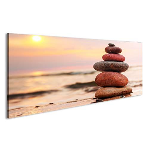 islandburner Bild Bilder auf Leinwand Steine ??Pyramide auf Sand symbolisiert Zen, Harmonie, Gleichgewicht. Ozean bei Wandbild Leinwandbild Poster DFR