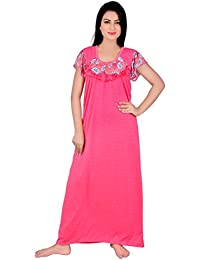 Kanika Women Cotton Nighty-Pink