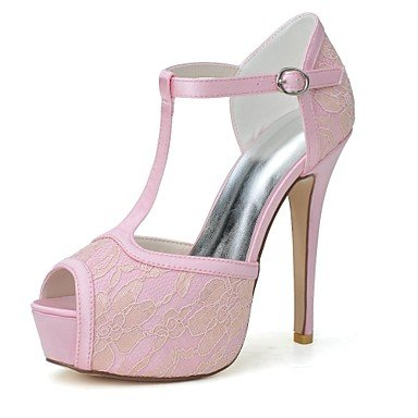 RTRY Donna Primavera Estate Autunno T-Strap Laccio Party Di Nozze &Amp; Sera Stiletto Heel Nero Blu Rosa Bianco Avorio US8.5 / EU39 / UK6.5 / CN40
