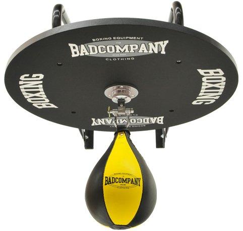 Profi Speedball Plattform Set inkl. Drehkugellagerung schwarz und PU Boxbirne medium schwarz / gelb - Boxapparat für die Wandmontage
