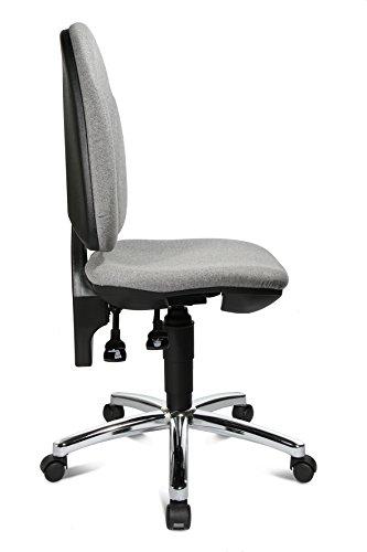 Topstar Bürostuhl mit Bandscheibensitz Point 30 deluxe, Bezug grau in Filzoptik – Teppichbodenrollen / Stahlfußkreuz verchromt
