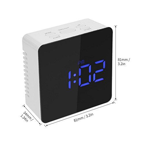 Hykis - Digitale LED-Spiegel-Uhr 12H / 24H Alarm und Snooze-Funktion ¡ã C / ¡ã F Innenthermometer Einstellbare LED-Helligkeit - Blau