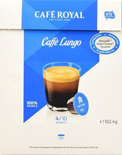 Café Royal Cafè Lungo, Capsule di Caffè Compatibili con Nescafé Dolce Gusto, 16 Capsule