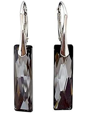 Crystals & Stones Swarovski Elements *QUEEN BAGUETTE* 25mm *Silver Night* Schön Ohrringe Damen Ohrhänger mit Kristallen...