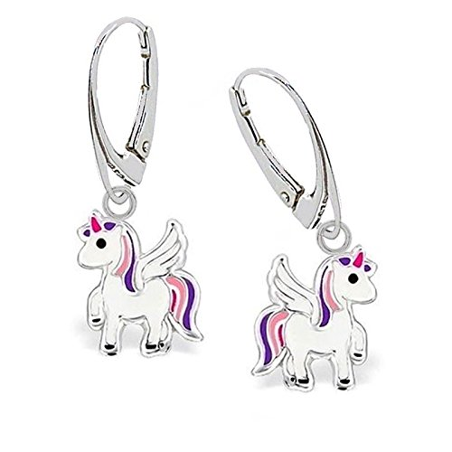 G-H* KIDS Mini Pegasus Einhorn Brisur Ohrringe 925 Echt Silber Kinder Mädchen Pferd Ohrhänger