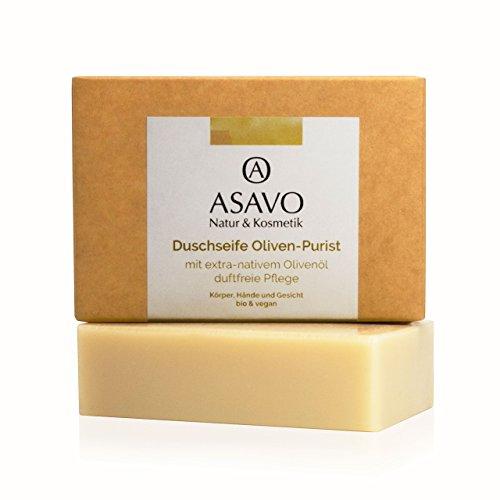 ASAVO Premium Olivenölseife, handgeschöpft mit extra-nativen Bio-Olivenöl, 100% Naturseife, Olivenseife, ohne Parfümzusatz, vegan, 95g