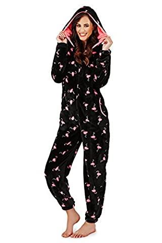 femmes loungeable Boutique polaire Flamingo imprimé Robe à capuche combinaison ou pyjama - Flamingo - Combinaison, Taille S - EU 36-38