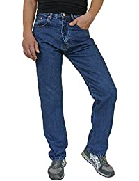 GREAT QUALITY Mens Regular Fit Jeans 100% COTTON W 28 – 60 LEG 27 29 31 33 Blue Stone wash Black Bleach Wash Hard Tough Wearing work Comfort Pants Bottoms Zip Fly Casual Plain Trousers