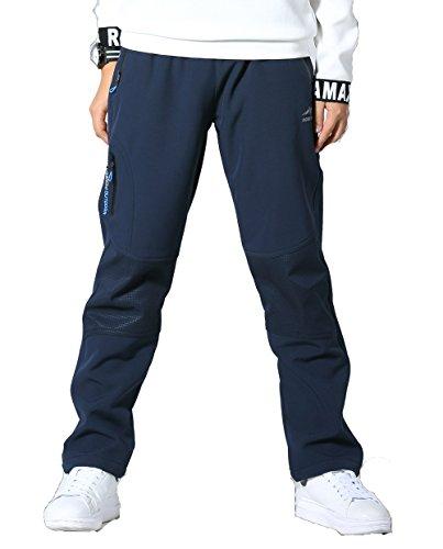 Echinodon Kinder Hose mit Fleecegefütterung Warm+ Wasserdicht + Winddicht + Atmungsaktiv + Schnelltrockend Winterhose Sporthose Blau 150
