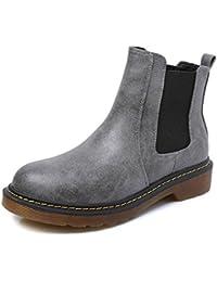 Minetom Mujer Otoño Invierno Botines Chelsea de PU Cuero El Talón Bajo Punta Cerrada Botas Zapatos Martin Botas