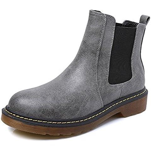 Minetom Mujer Otoño Invierno Botines Chelsea de PU Cuero El Talón Bajo Punta Cerrada Botas Zapatos Martin
