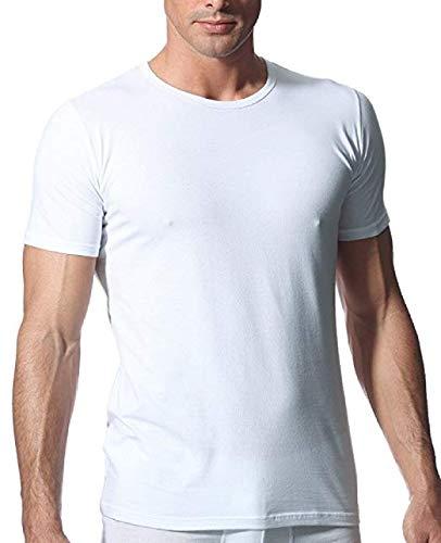 Rossoporpora, set da 3 magliette intime uomo in cotone elasticizzato modello girocollo art. mu001 (bianco, 4 / m)
