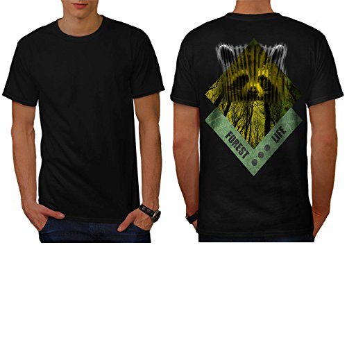 raccoon-forest-life-yellow-wood-men-new-black-xl-t-shirt-back-wellcoda