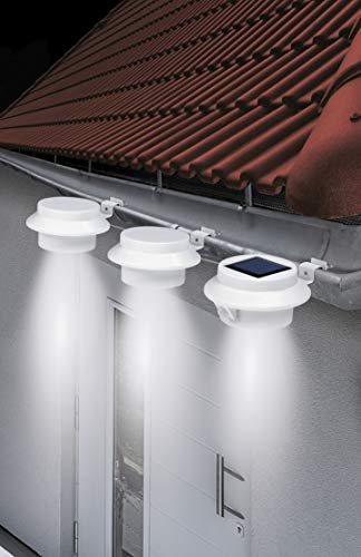 EASYmaxx Solar-Leuchte Dachrinne | 3er-Set, Rund | integrierter Bewegungsmelder, inklusive Montagematerial | bis 8 Std. Leuchtdauer | Weiß