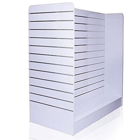 H Lamellenwand Regal Ständer mit Alu Schienen und 4 Rollen Gondel Wandregal (150 x 123 x 60 cm) Rollbar