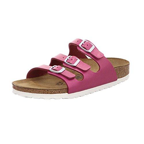 BIRKENSTOCK 1008855 Florida Damen Pantolette aus Edlem Birko-Flor Lederfußbett, Groesse 42, Pink