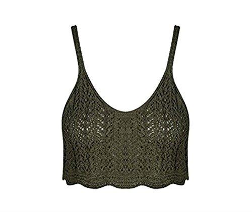 Friendz Trendz -Womens Crochet Cami gestricktes Ribbed Belly Bralet Crop Khaki