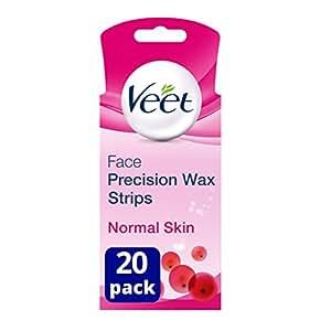 Veet Easygrip Ready-to-use Wax Strips für Gesicht (20x Wachsstreifen + 4x Perfektes Finish Wischtuchen)