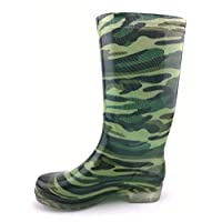 Wellington Boots ,High Tube Camouflage Waterproof Rain Boots Female Fashion High Help Slip Wear Rain Boots Plus Velvet Warm Low Heel Shoes Camouflage Army Green Fashion Pattern Pvc Shoes Men Ladies