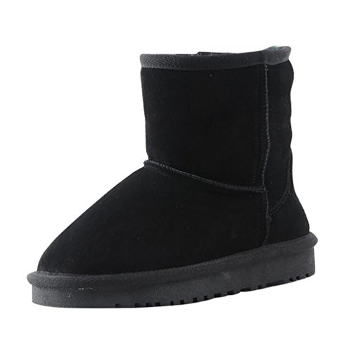 YiJee Enfants Respirant Bottes de Neige épaissir Chaud Plat Chaussures Noir