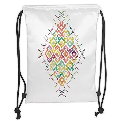 Groovy Cord (Juzijiang Drawstring Sack Backpacks Bags,Groovy,Watercolors Ethnic Tribal Pattern Zigzag Asian Roots International Heritage Motif Image Decorative,Multi Soft Satin,Adjustable.)