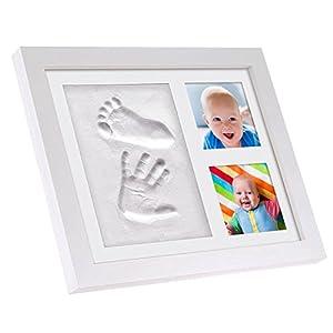 Cadre pour photos et empreintes de main et de pied de bébé, par BabySimba. - Le cadeau-souvenir idéal pour une fête prénatale ou un baptême. Kit de moulage à l'argile, absolument sans danger pour votre bébé. Convient aux nouveaux-nés et tout-petits. Créez