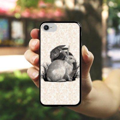 Apple iPhone X Silikon Hülle Case Schutzhülle Hase Häschen Hasen Hard Case schwarz