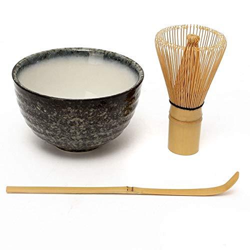 Bol à thé en céramique Matcha en bambou, cuillère à thé, fouet Matcha, cadeau idéal pour une cérémonie traditionnelle de thé japonaise ou un usage quotidien Mountain Cloud