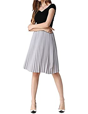Funnycokid Mujer Gasa Falda Verano Midi Pleated Faldas