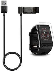 Garmin Vivoactive HR Chargeur avec écran protecteur (3.3ft / 100cm), TUSITA Remplacement Charge USB Câble de charge Cordon Dock Synchronisation des données pour Garmin Vivoactive HR