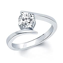 Vk Jewels Surprise Delight Silver Rhodium Plated Solitare Ring For Women- Fr1028R Size 12 [Vkfr1028R12]