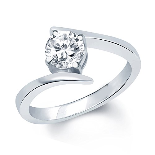 Vk Jewels Silver Deli Rhodium Plated Solitare Ring For Women- Fr1028R Size 16 [Vkfr1028R16]