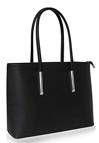 Edle Damen Handtasche in Saffiano Optik, Hochwertige Schulter-Tasche Din-A4