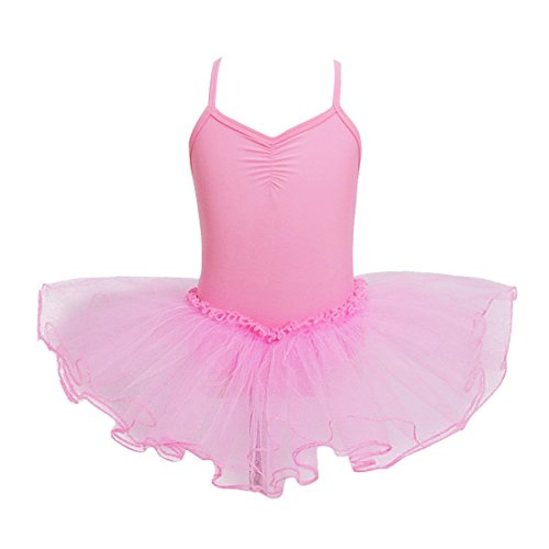 YiZYiF Mädchen Ballettkleid Ballett Trikot Tanzkleid Mädchenkleid Ballettanzug Tüll Festzug 98 104 116 128 140 152 Rosa 92-98