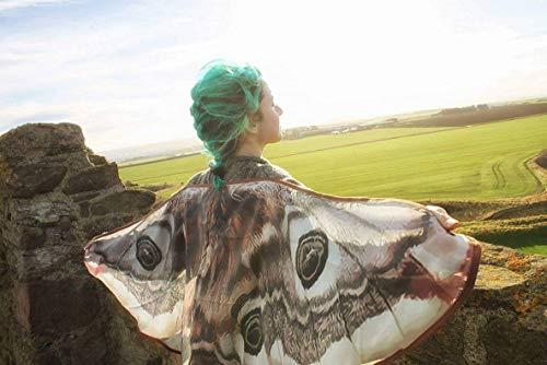 Motte Flügel Schmetterling Umhang kurze Fee Mantel braun und weiß Kostüm Erwachsene Braut Fee (Weiße Schmetterlingsflügel Kostüm)