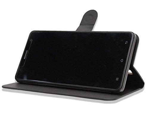 Prevoa ® 丨Flip PU Hülle Case Schutzhülle Tasche für CUBOT H1 5.5 Inch FDD LTE 4G Android 5.1 MTK6735PSmartphone - (Schwarz -)
