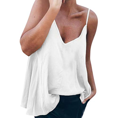 SHOBDW Frauen Sexy Mode Sling Oblique V-Neck Shirt Einfarbig Sling T-Shirt Frauen Sommer Elegant Weste Hemdbluse Unregelmäßigkeit Unterhemd