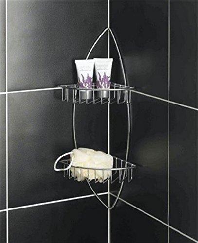 Rack double angle pour douche / salle de bains avec 2 étagères, idéal pour stocker toiletires. Finition chrome de haute qualité.