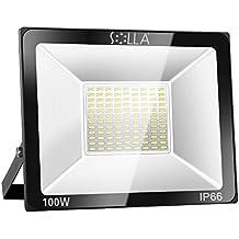 SOLLA Foco Proyector LED 100W para exteriores, Blanco Frío 6000K, 8000LM, Impermeable IP66, luz amplia, luz de seguridad